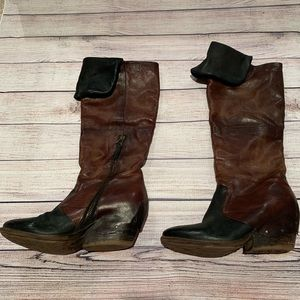 A.S. 98 Airstep black and brown OTK tall boots